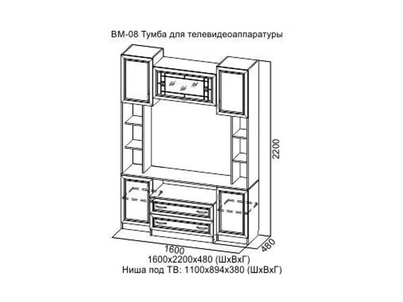 ВМ08_Модуль_под_ТВ_1600x480x2200_мм
