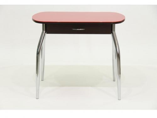 Стол со стеклом Гала 10 с ящиком