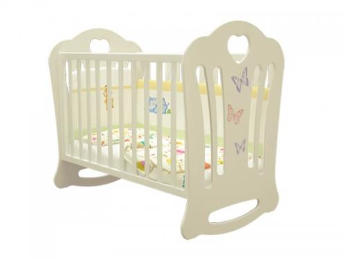Кроватка детская Шарлотта Бабочки Слоновая кость